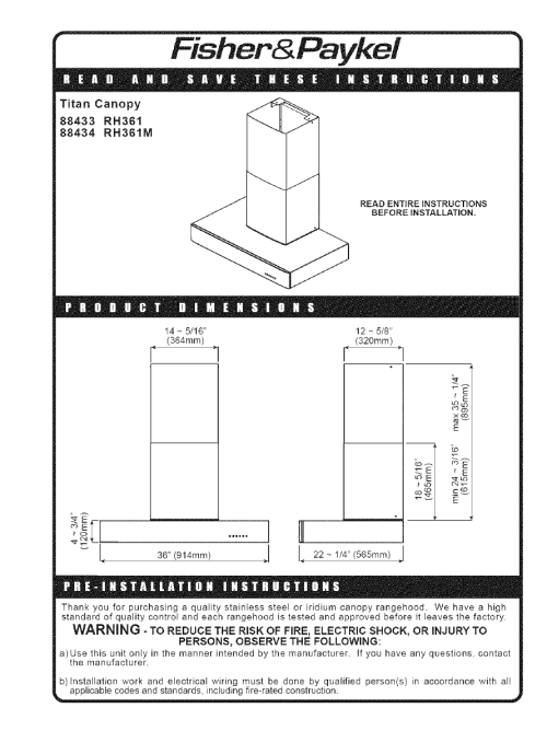 small resolution of hc36dxb1 88507a hc36dxb1 88507a fisher paykel range hood manuals and guides l0523181 view the owners manual for your fisher paykel range hood