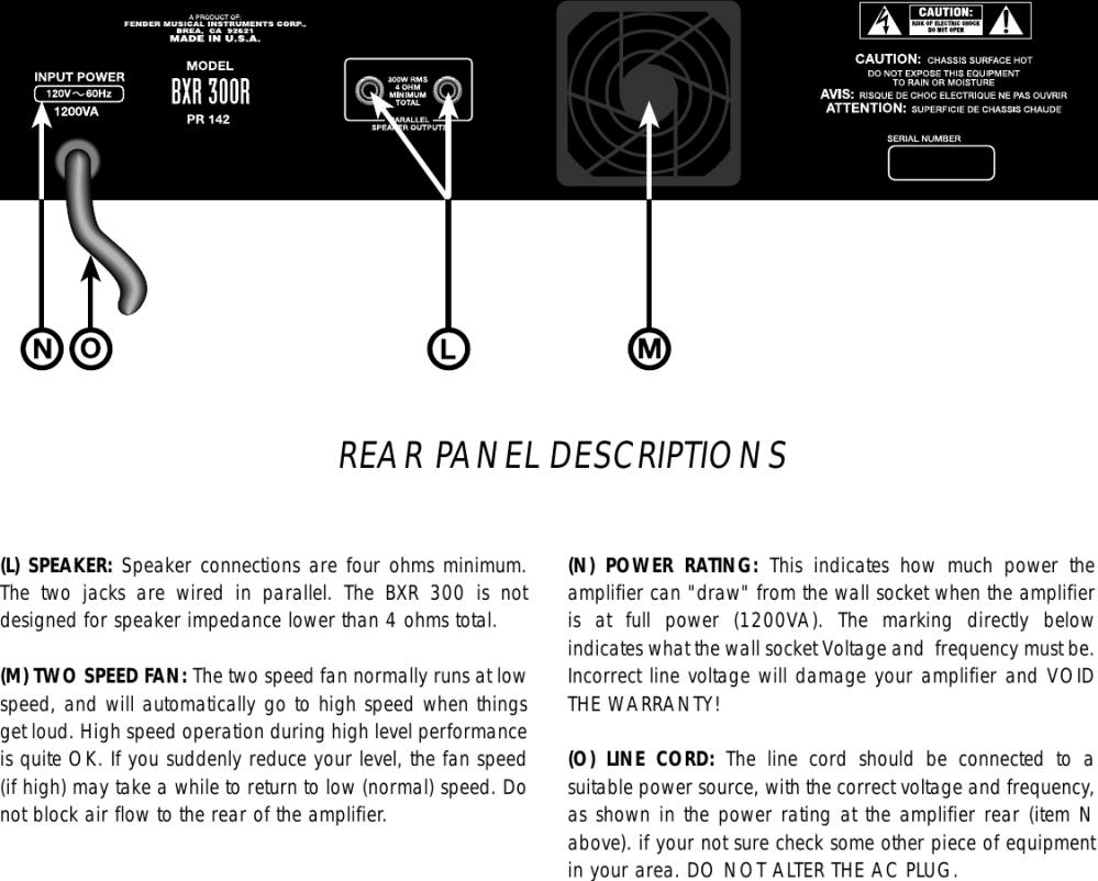 medium resolution of page 4 of 7 fender fender bxr 300c users manual
