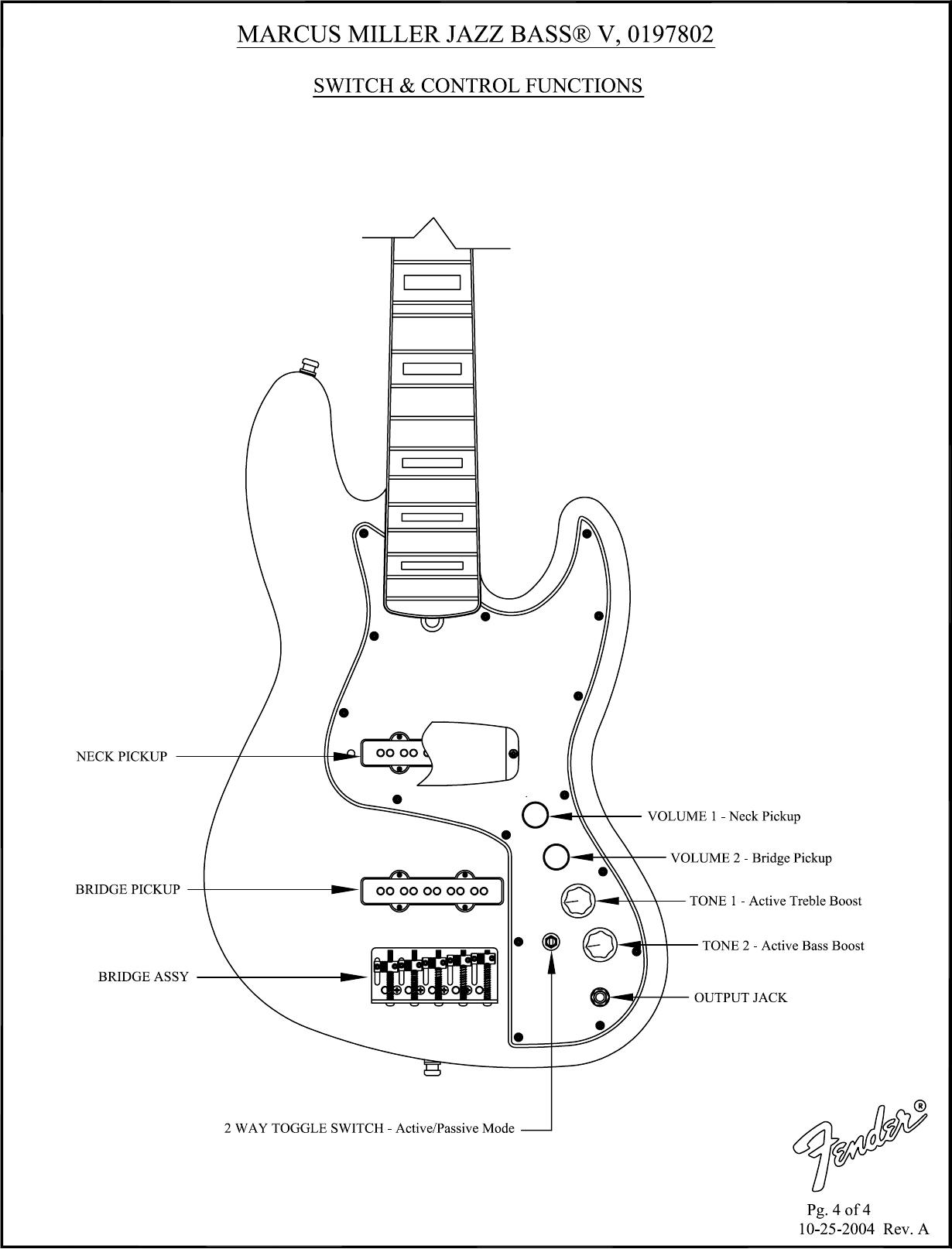 Fender Marcus Miller Jazz Bass Users Manual SD 019 7802 J
