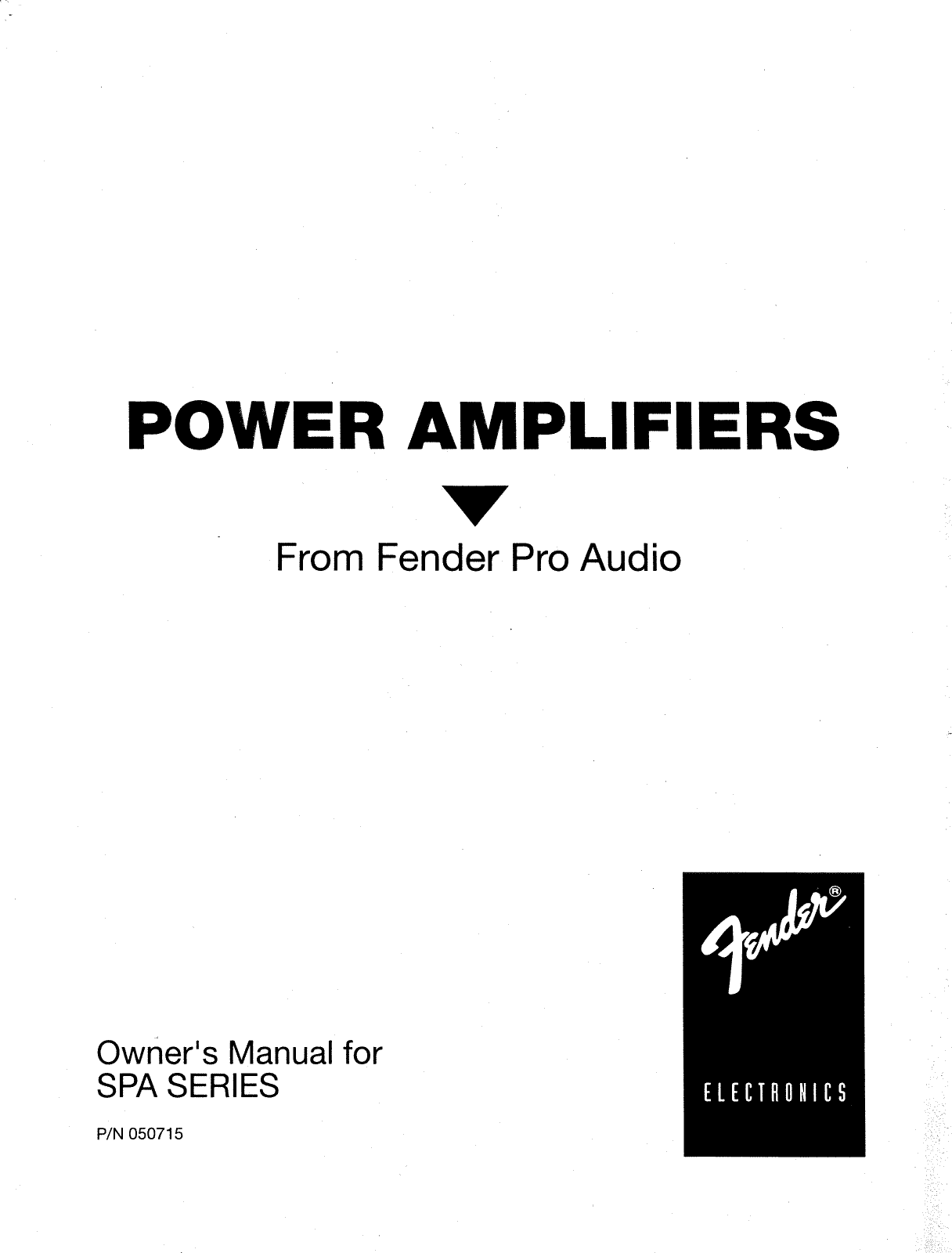 Fender SPA 7500 Power Amplifiers Manual