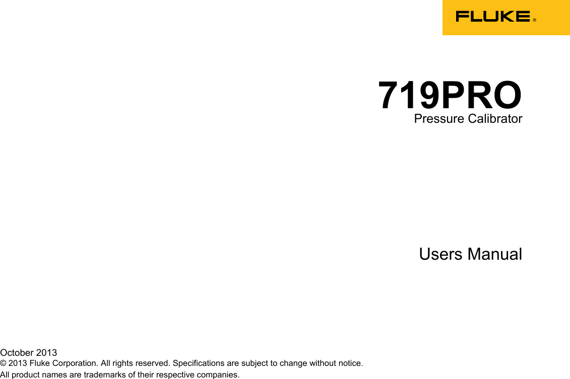 Fluke 719Pro Users Manual