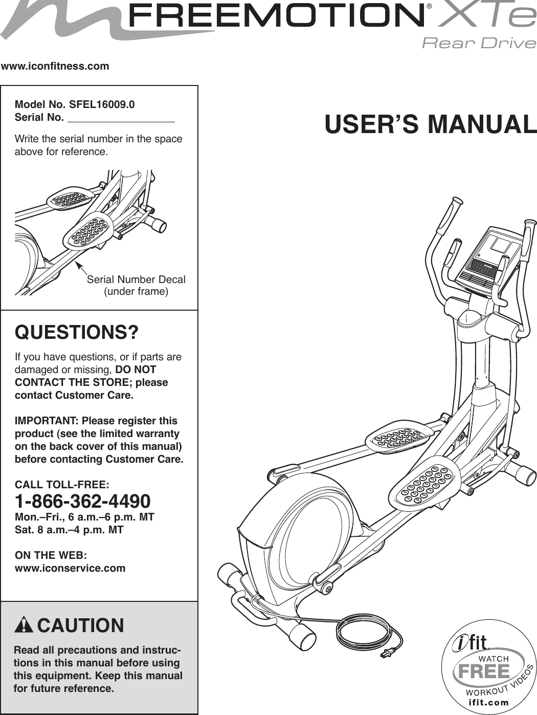 Freemotion Sfel160090 Owners Manual 285430