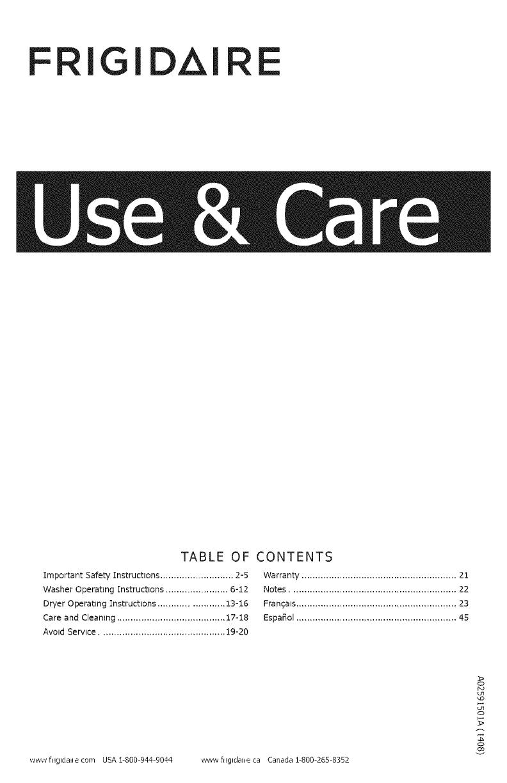 Frigidaire FFLE3911QW0 User Manual LAUNDRY CENTER Manuals