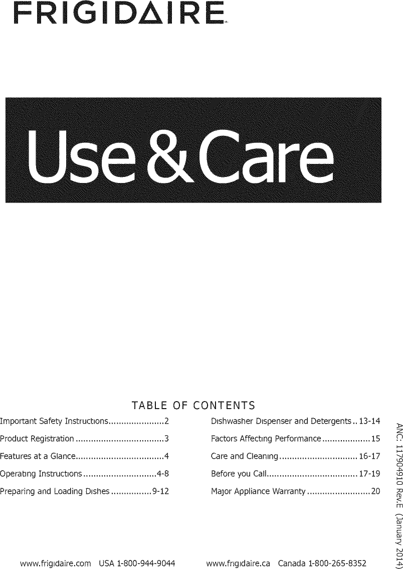 Frigidaire FGID2474QF0A User Manual DISHWASHER Manuals And