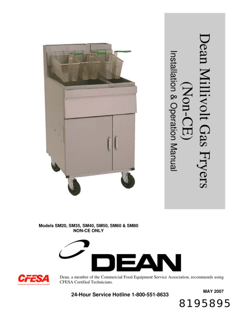 small resolution of frymaster dean sm35 users manual millivolt gas non ce front cover 6 3 03