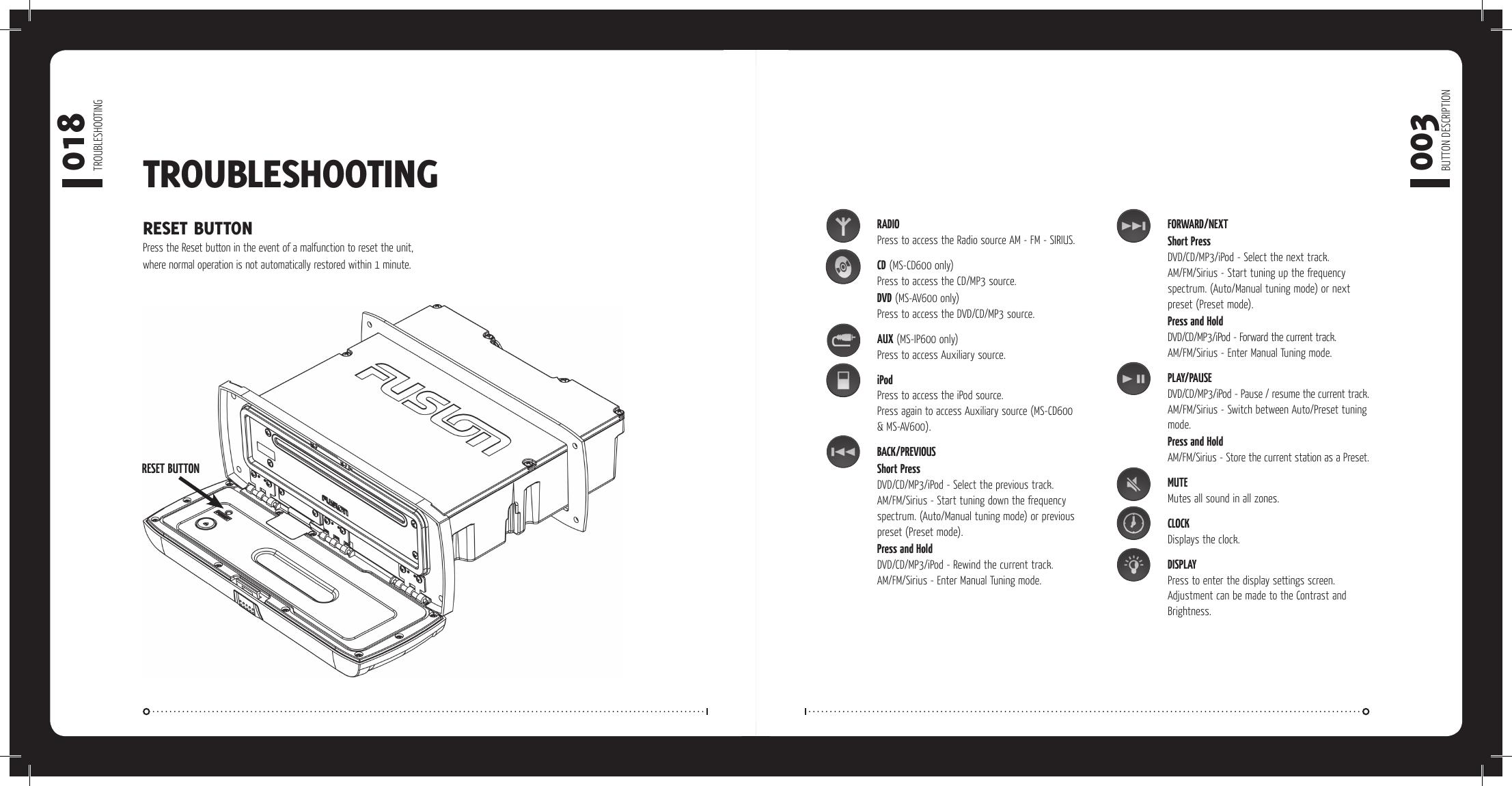Fusion Electronics Marine Gps System Ms Av600 Users Manual