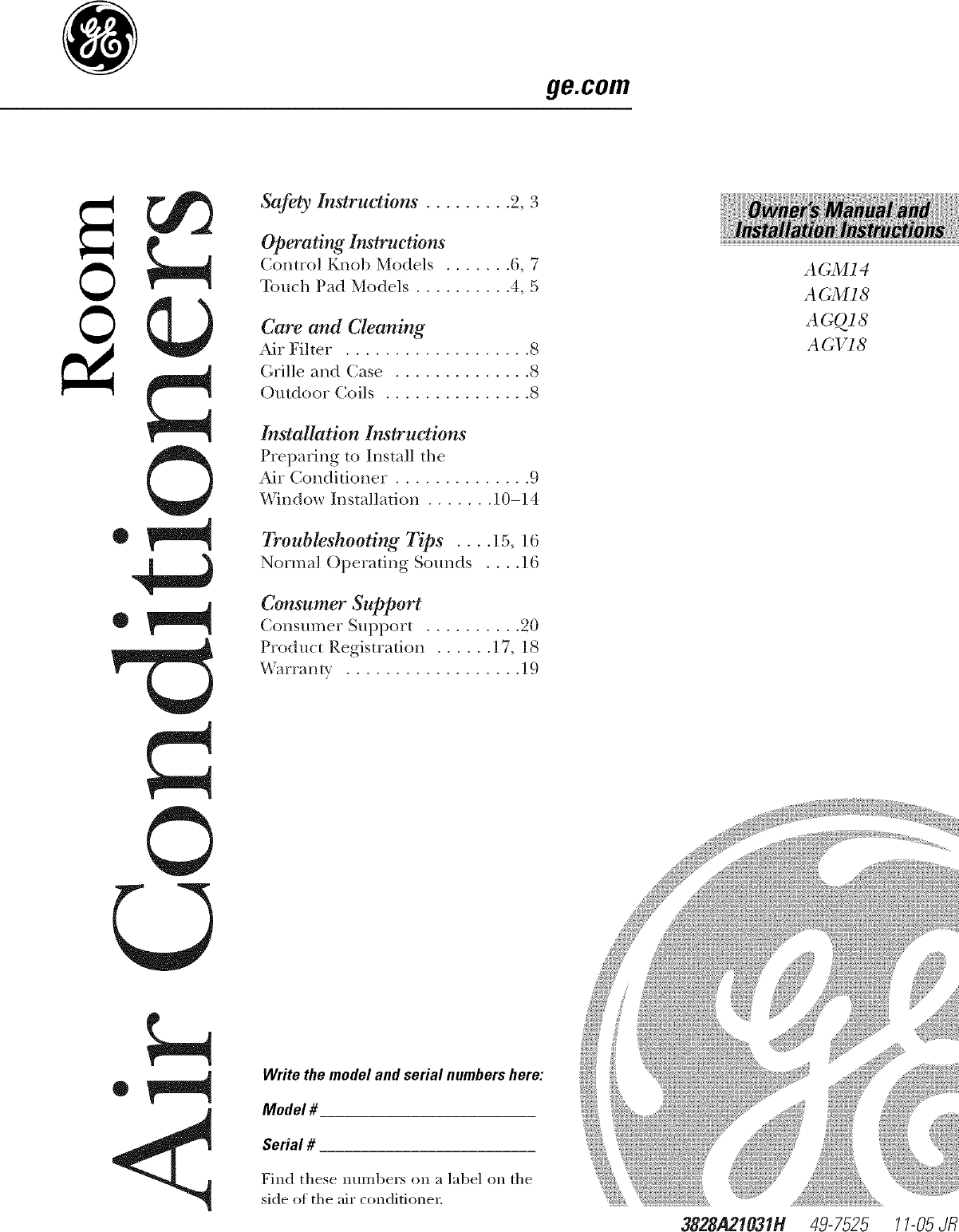 GE AGM18DJG1 User Manual ROOM AIR CONDITIONER Manuals And