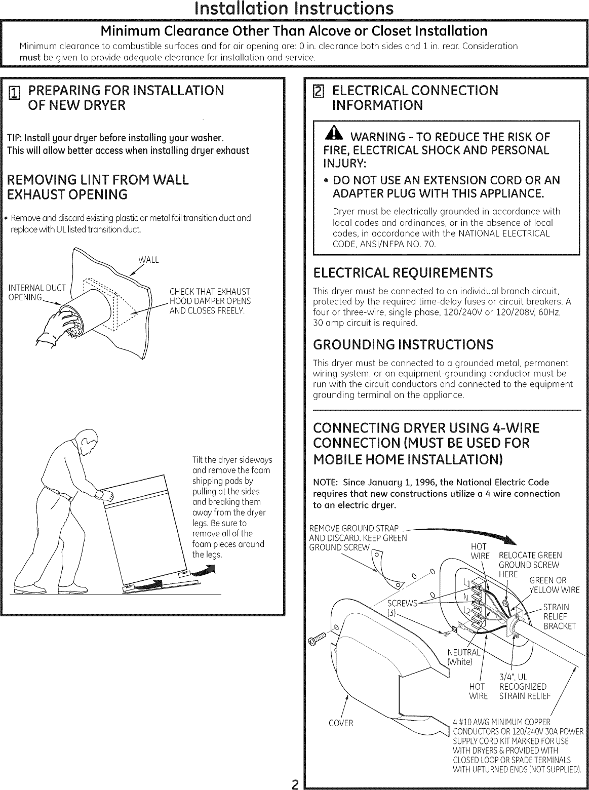 hight resolution of page 2 of 12 ge dbvh520ej3ww user manual electric dryer manuals and guides l0908200