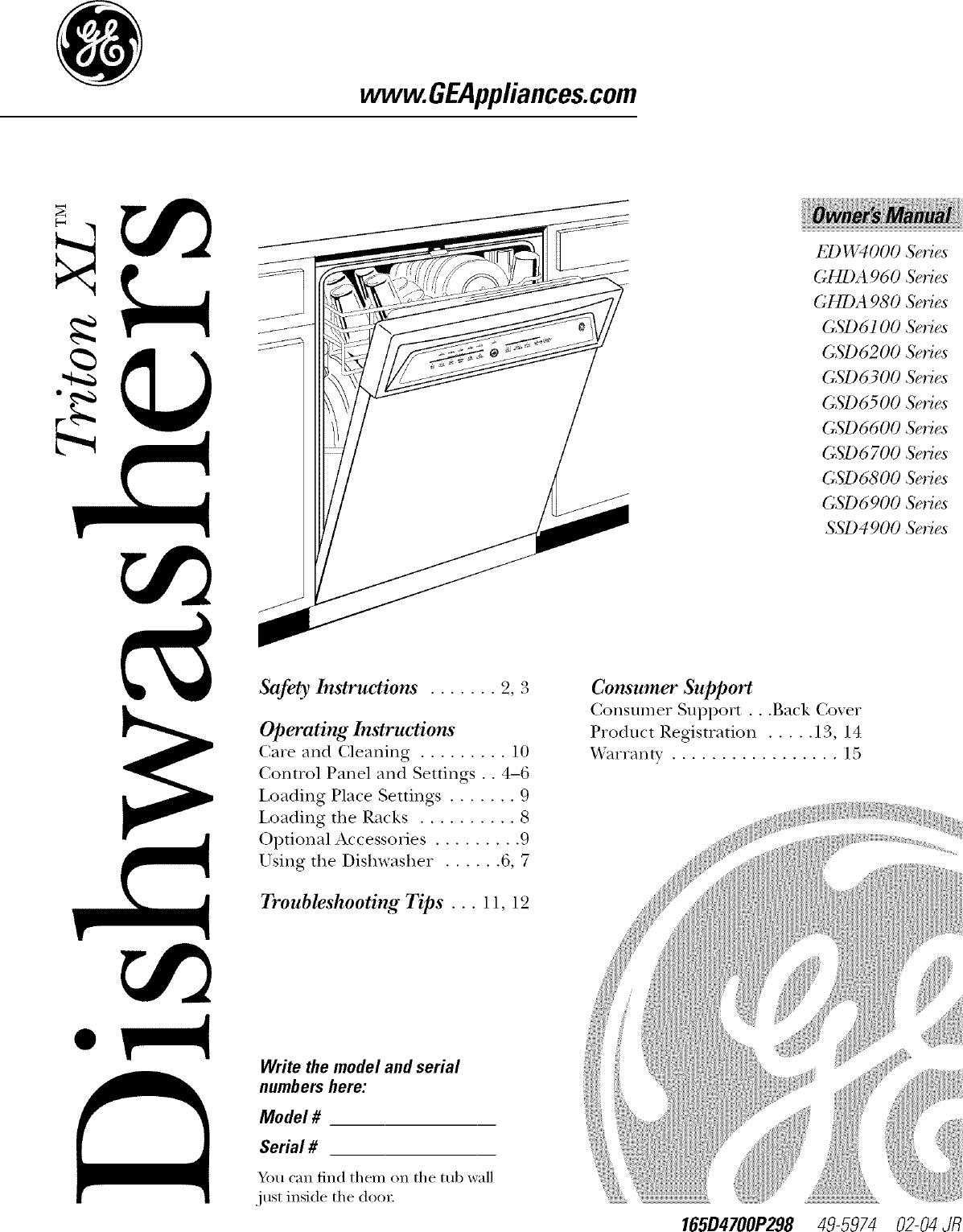 GE EDW4000G10BB User Manual DISHWASHER Manuals And Guides
