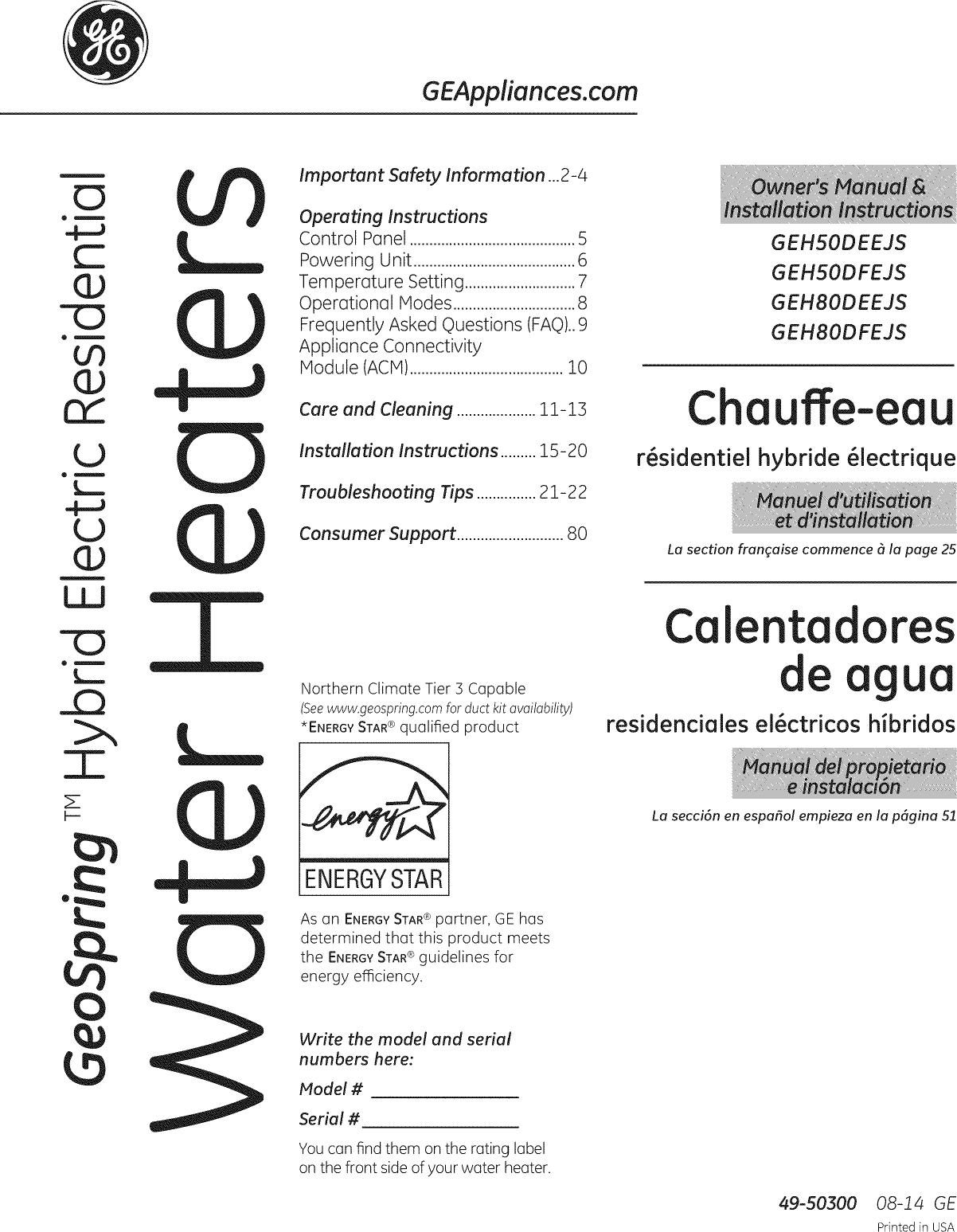 GE GEH50DEEJSCA User Manual WATER HEATER Manuals And