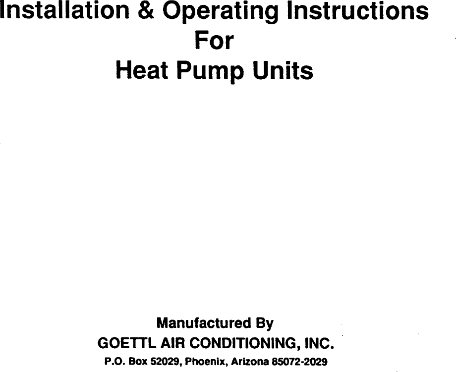 GOETTL Air Conditioner/heat Pump(outside Unit) Manual 98090203