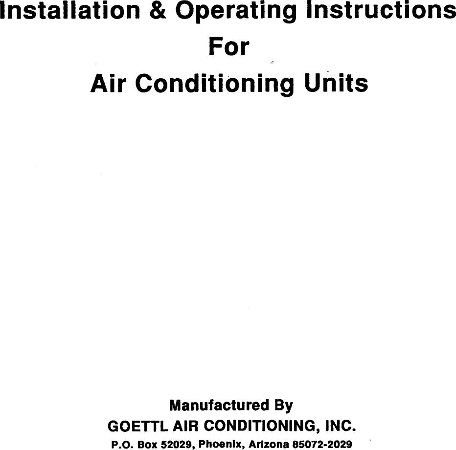 GOETTL Air Conditioner Room (42) Manual 98090205