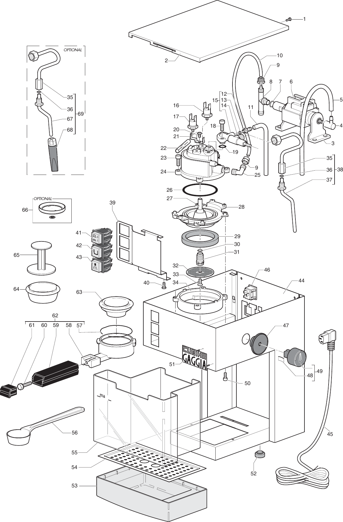 Gaggia Cubika Parts Diagram Sin015xn Er 01 Rev02 User