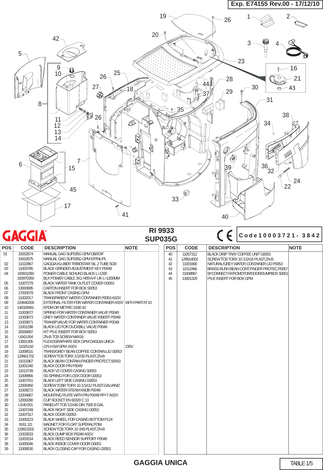 Gaggia Unica Parts Diagram E74155 Rev.00(SUP035G) User Manual