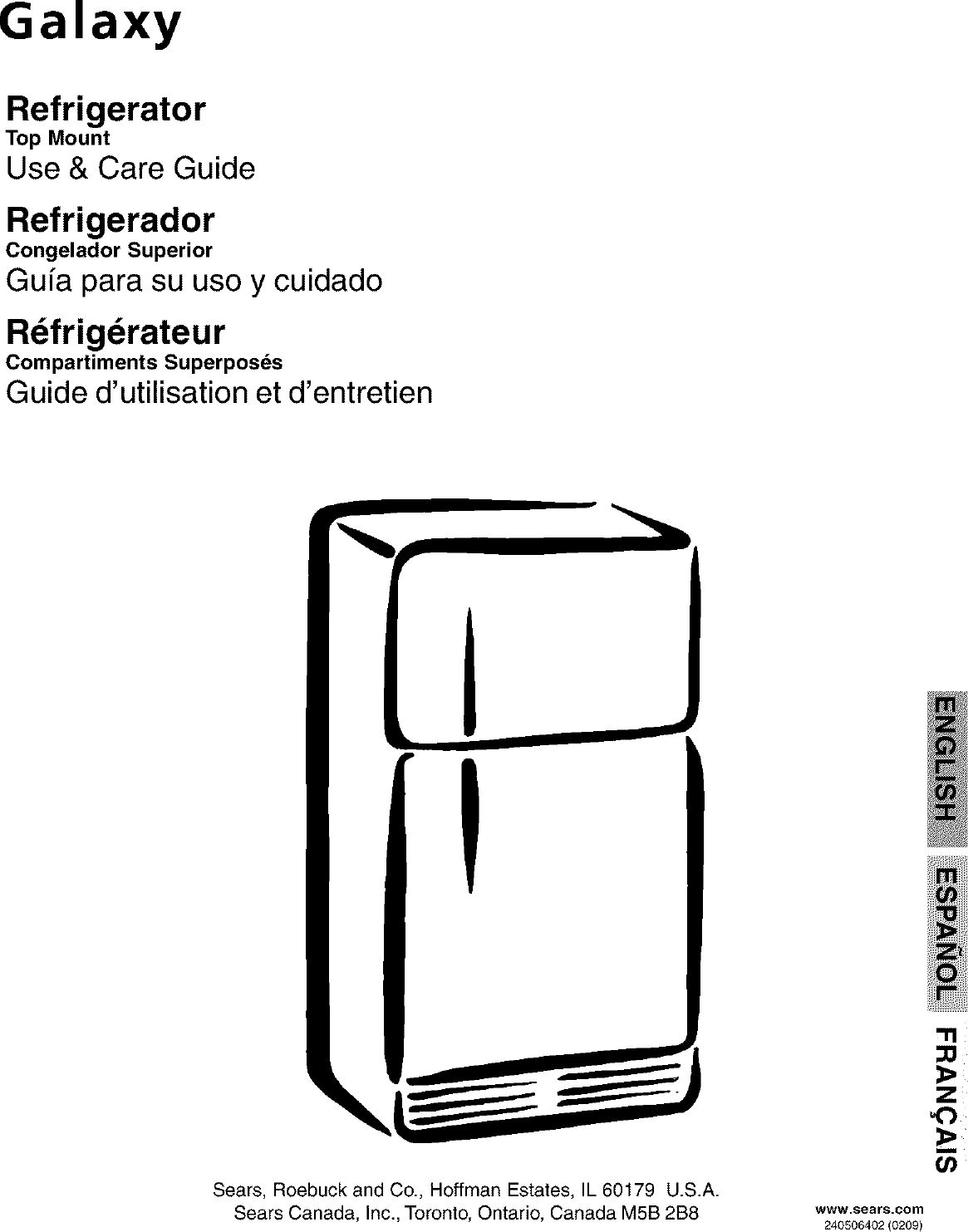 Galaxy 25363802202 User Manual SEARS/REFRIGERATOR Manuals