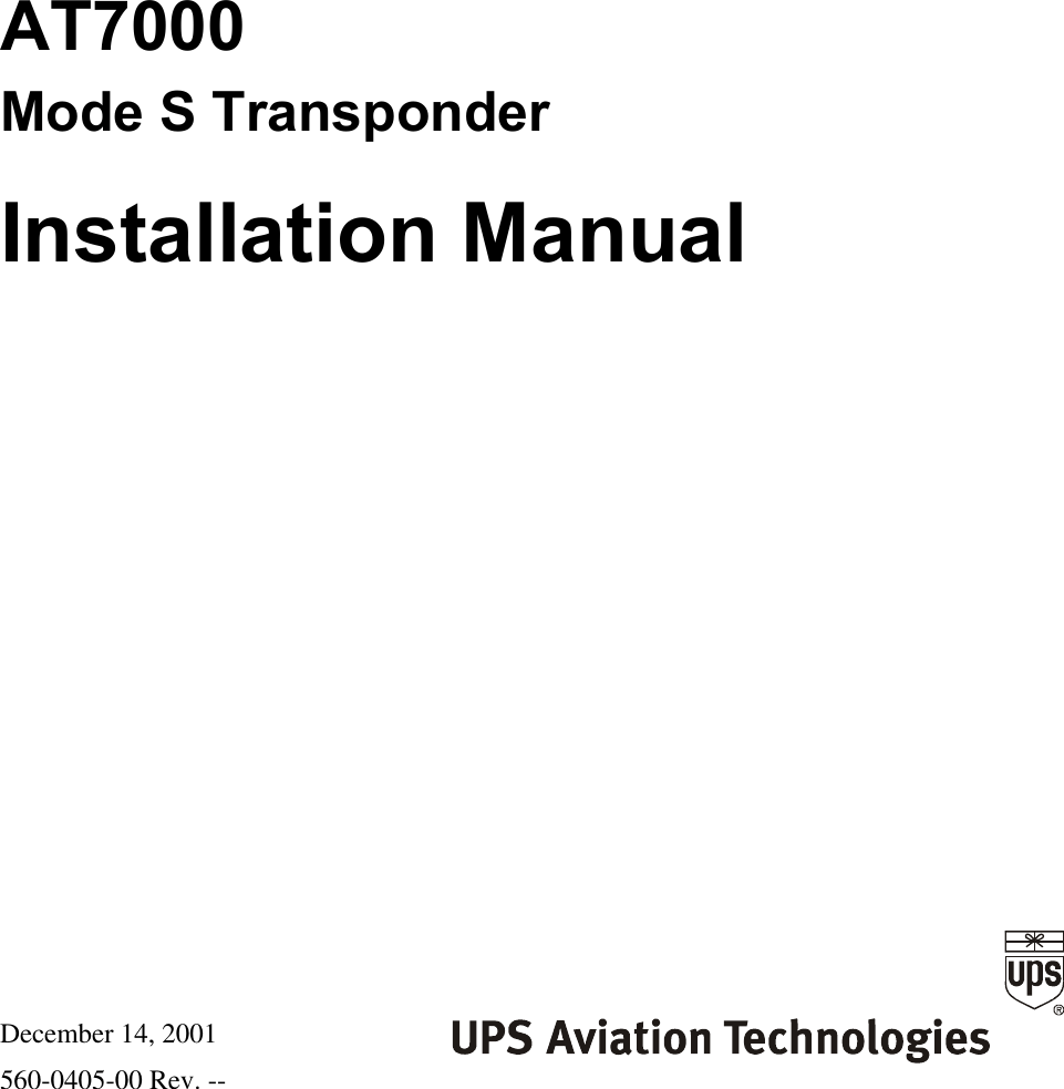 Garmin AT AT7000 Mode S Datalink Transponder User Manual