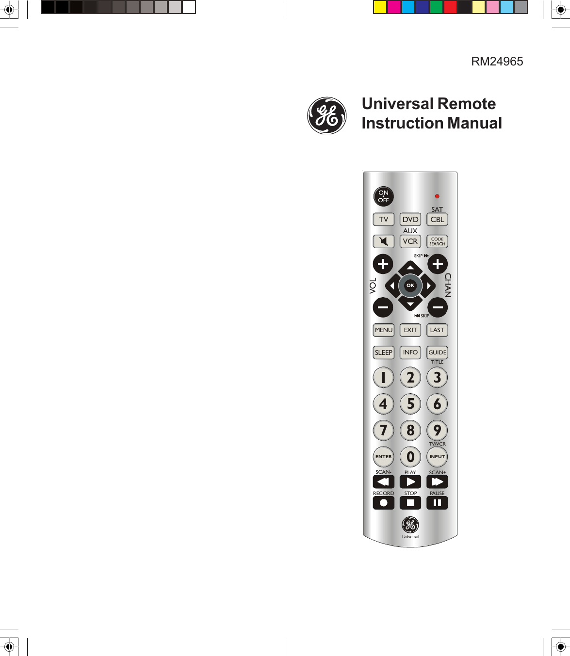 Ge Appliances 24965 Universal Remote Owners Manual RM24965