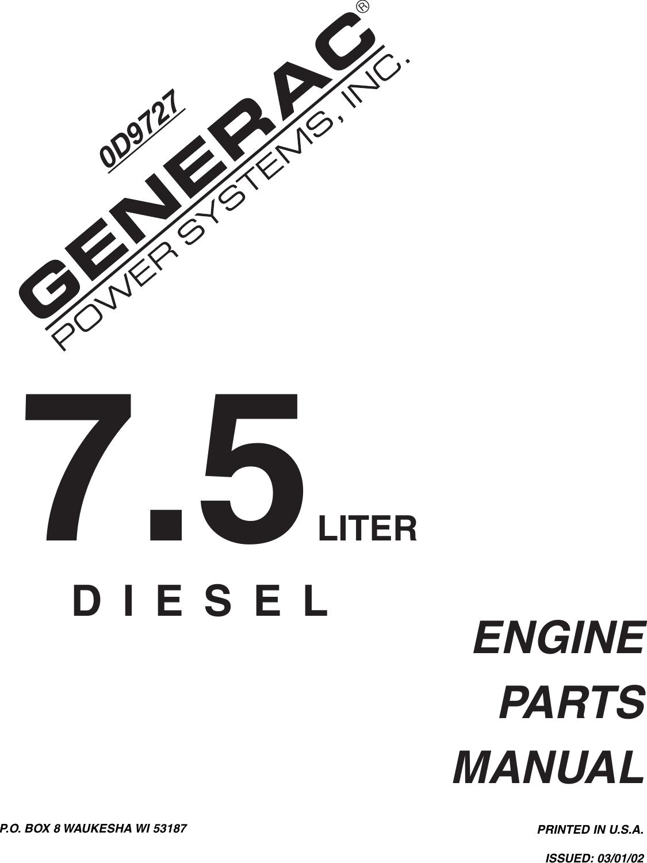 Generac Power Systems 0D9727 Users Manual
