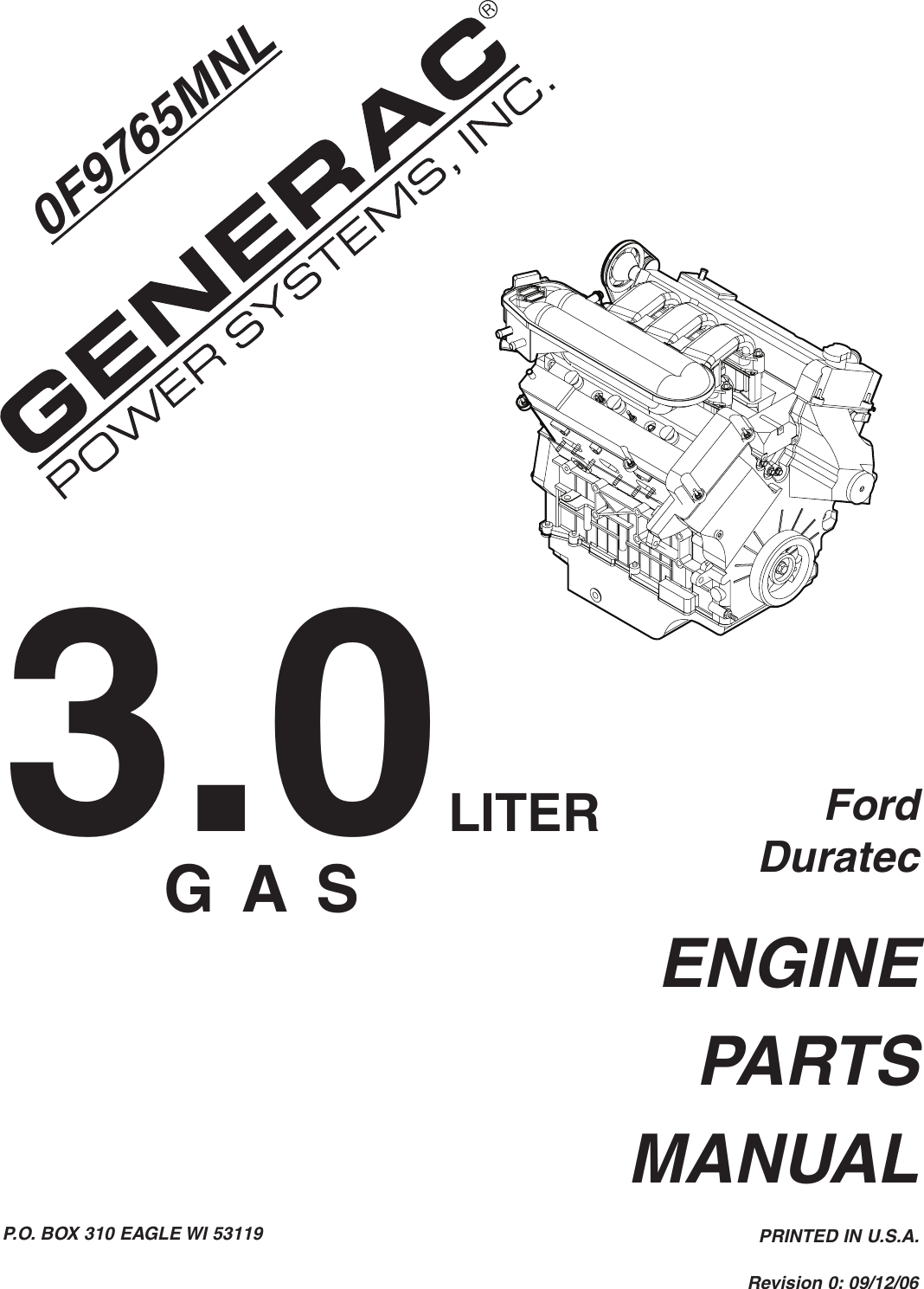 Generac Power Systems Ford Duratec 0F9765Mnl Users Manual