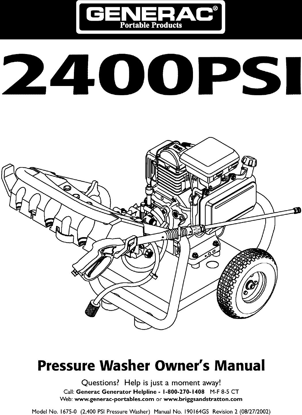 Generac 1675 0 User Manual PRESSURE WASHER Manuals And