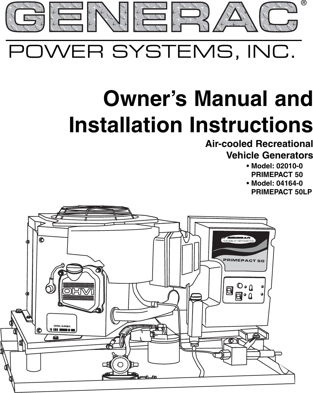 Generac 02010 0 04164 Owners Manual C5080RE0