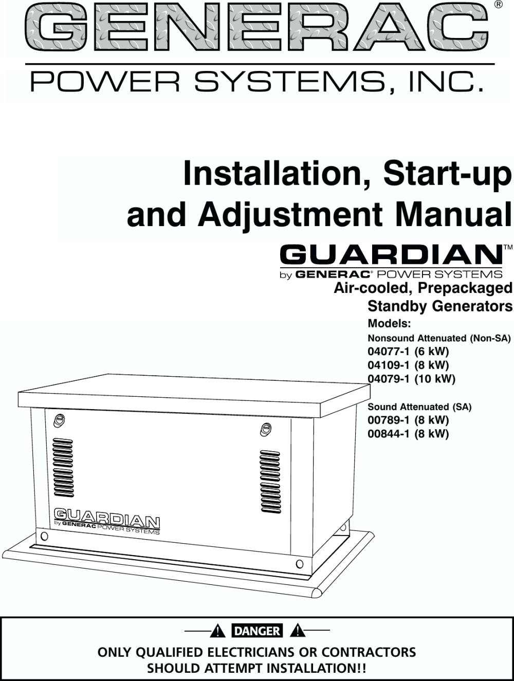 medium resolution of generac 04077 01 04109 1 04079 00789 00844 owners manual guardian 6 8 10kw air cooled standby generators owner s c4219