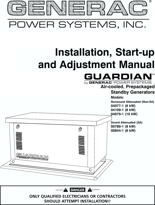 small resolution of generac 04077 01 04109 1 04079 00789 00844 owners manual guardian 6 8 10kw air cooled standby generators owner s c4219