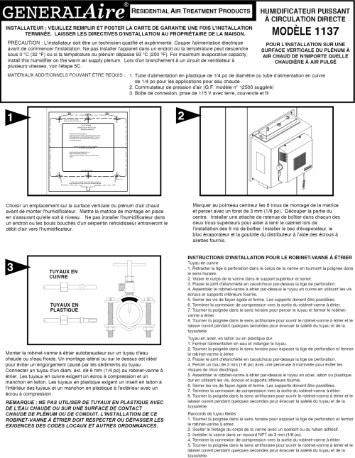 small resolution of page 3 of 9 generalaire 1137 user manual humidifier manuals and guides l1002554