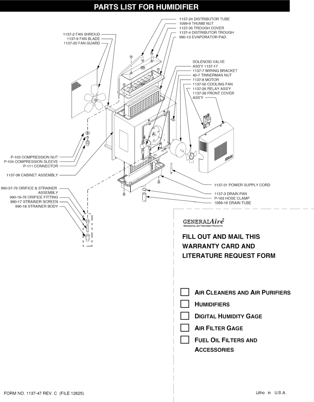 medium resolution of page 5 of 9 generalaire 1137 user manual humidifier manuals and guides l1002554