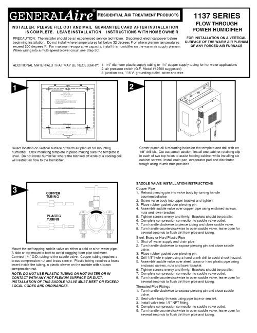 small resolution of general 1137 humidifier wiring diagram