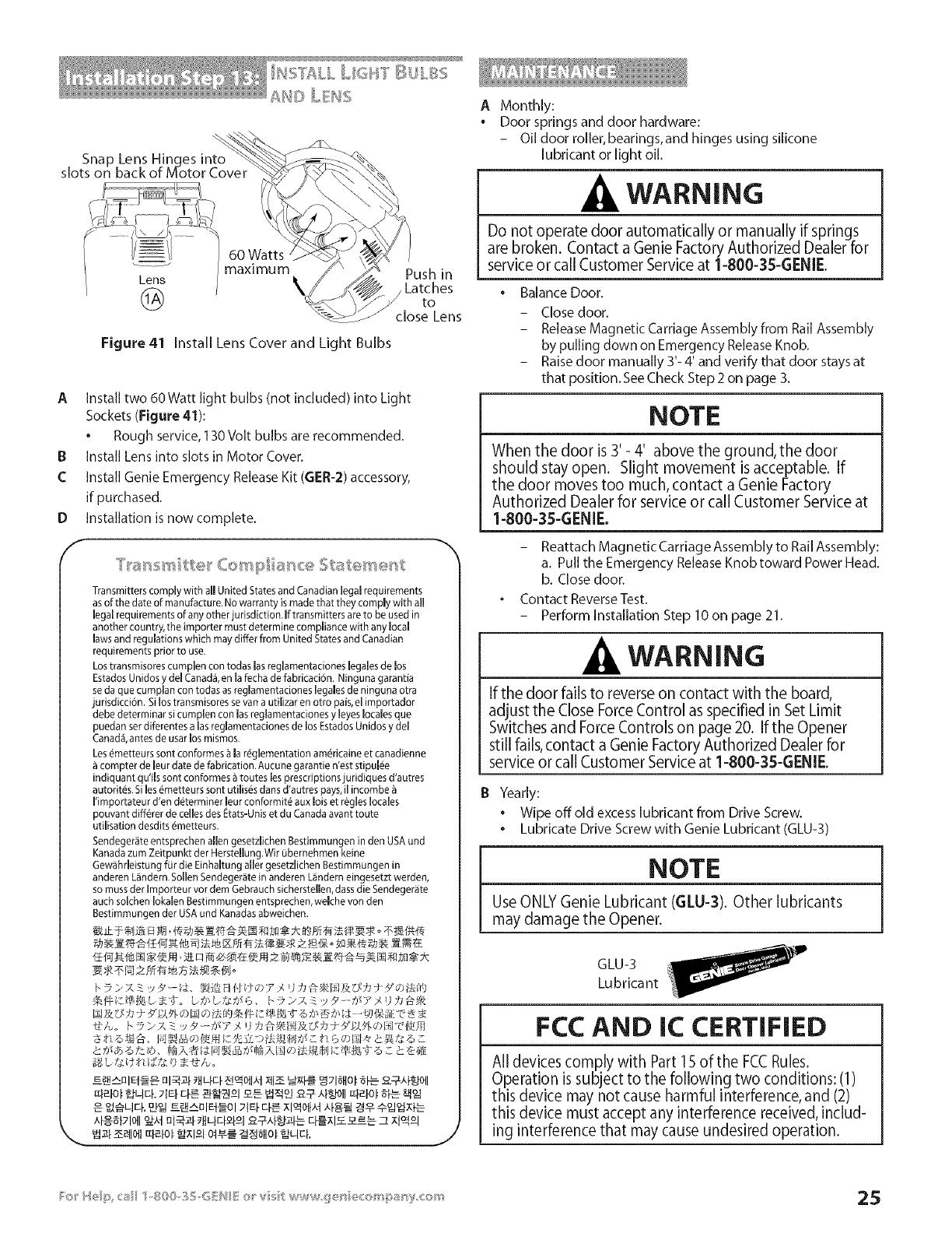 Genie EXCELERATOR User Manual GARAGE DOOR OPENER Manuals