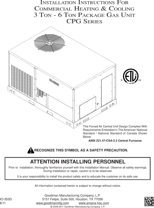 small resolution of goodmans commercial heating and cooling 3 ton 6 package gas unit cpg series users manual