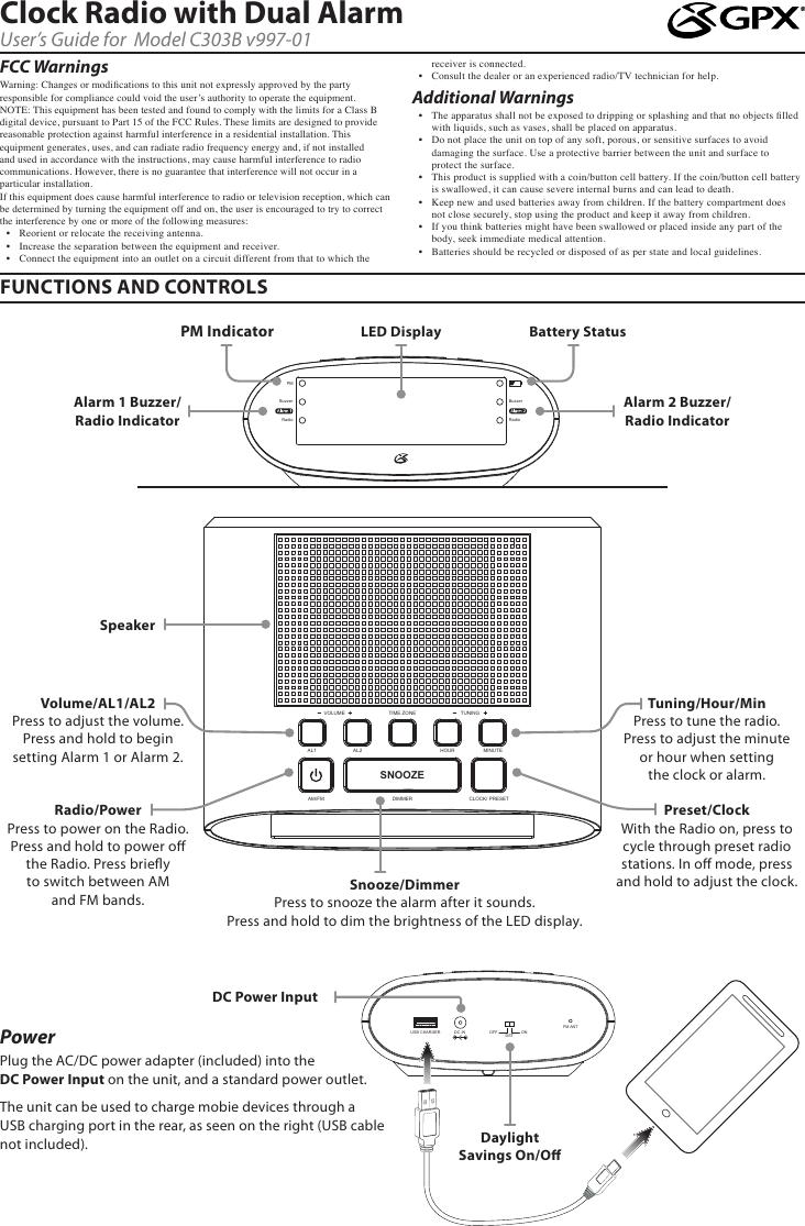 Gpx Clock Radio C303B V997 01 Users Manual
