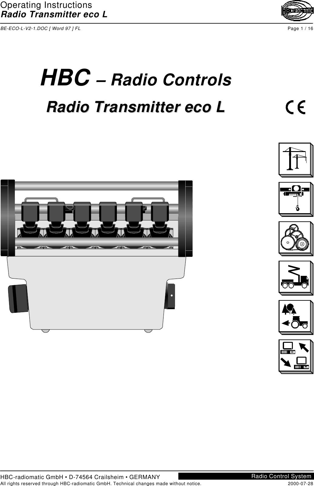 HBC radiomatic E20004 Crane Remote Control Transmitter