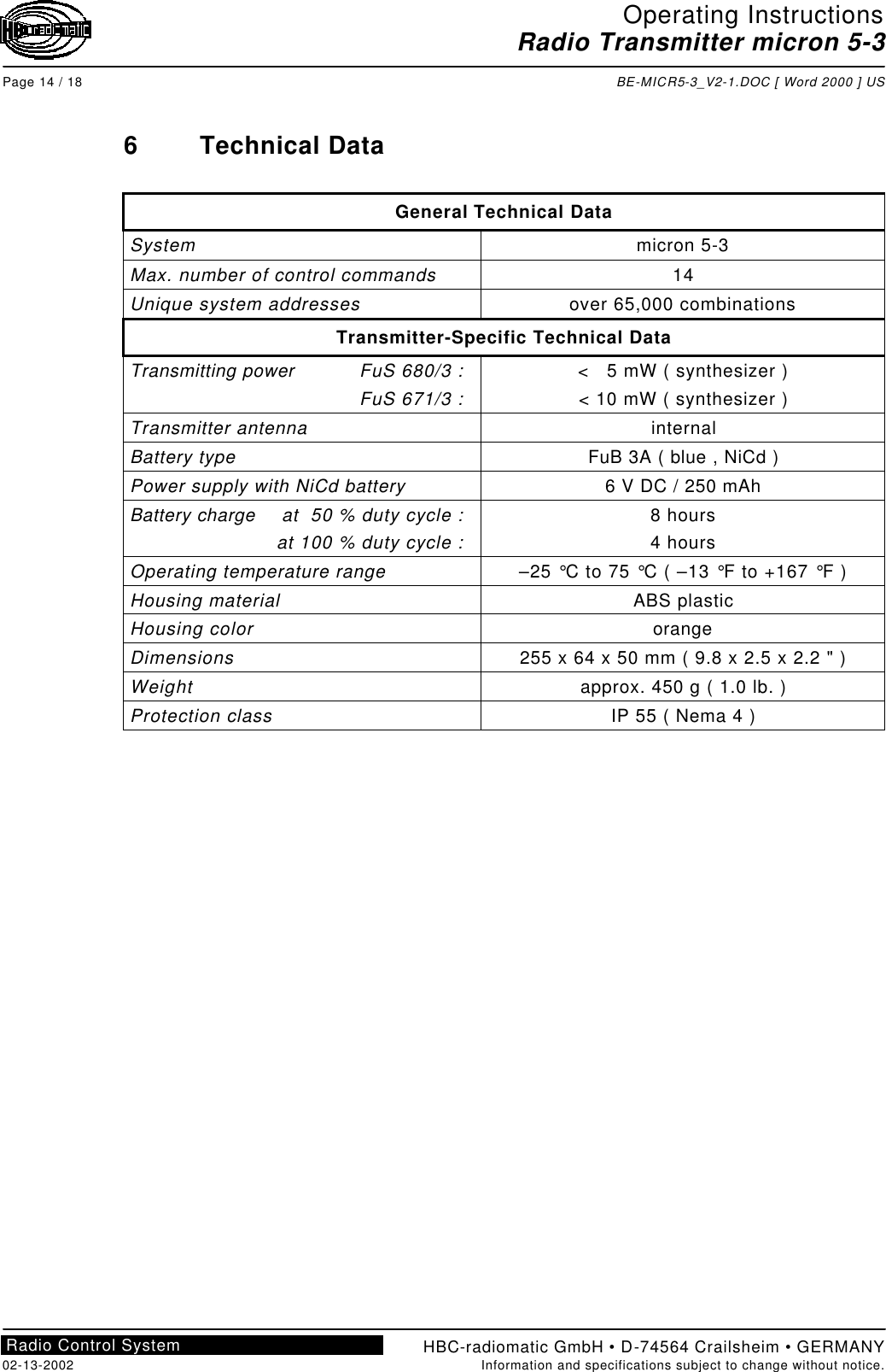 HBC radiomatic M50004 Micron 5 User Manual BE MICR5 3 V2 1