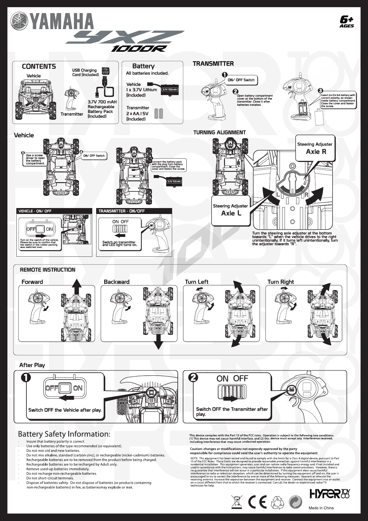 HYPER TOY RC1000-TG-24T RC YAMAHA YXZ User Manual 1