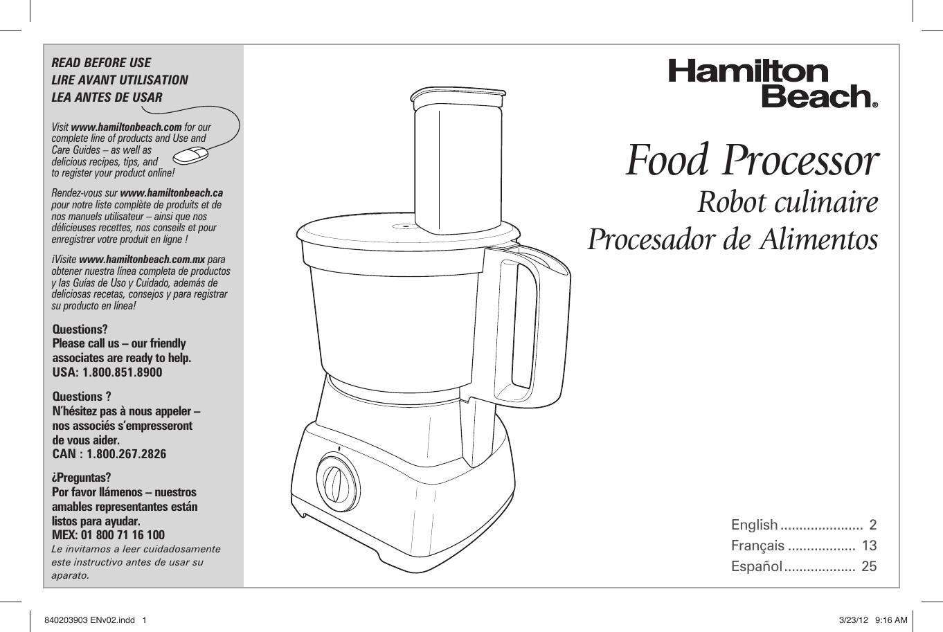 Hamilton Beach 70740 Owner S Manual Print Specs