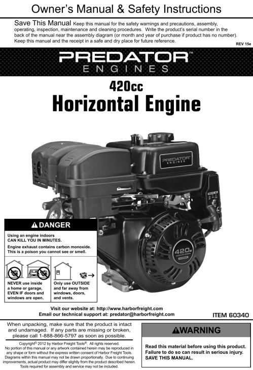 small resolution of  harbor freight 13 hp 420cc ohv horizontal shaft gas engine epa on harbor