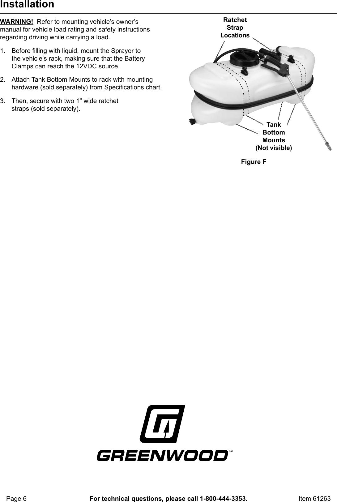 Harbor Freight 15 Gallon Spot Sprayer 12 Volt Product Manual