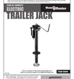 harbor freight 3500 lb capacity drop leg heavy duty electric trailer jack product manual [ 1191 x 1684 Pixel ]