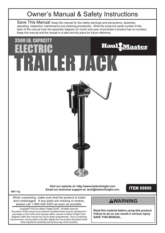 medium resolution of harbor freight 3500 lb capacity drop leg heavy duty electric trailer jack product manual