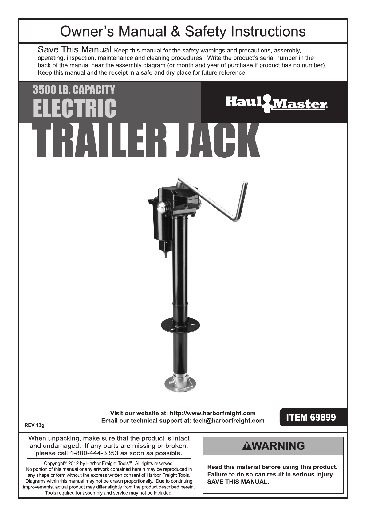 hight resolution of harbor freight 3500 lb capacity drop leg heavy duty electric trailer jack product manual