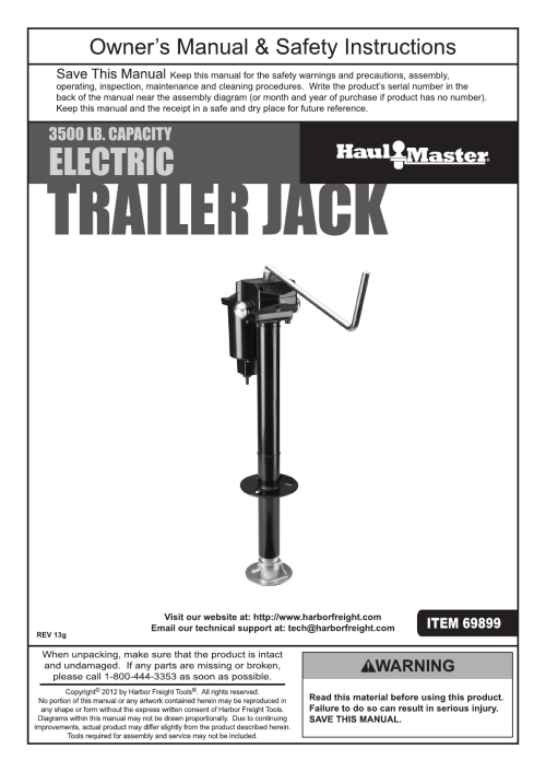 small resolution of harbor freight 3500 lb capacity drop leg heavy duty electric trailer jack product manual