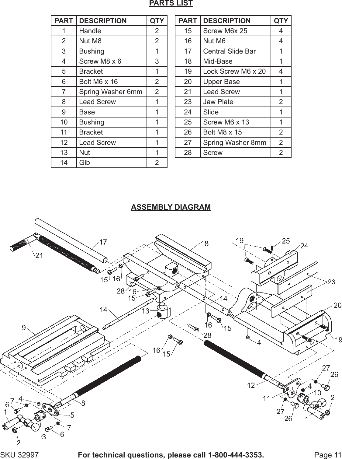 Harbor Freight 6 In Cross Vise Product Manual
