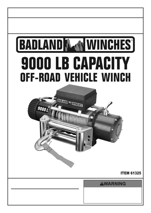 small resolution of harbor freight 9000 lb off road vehicle electric winch with automatic load holding brake product manual