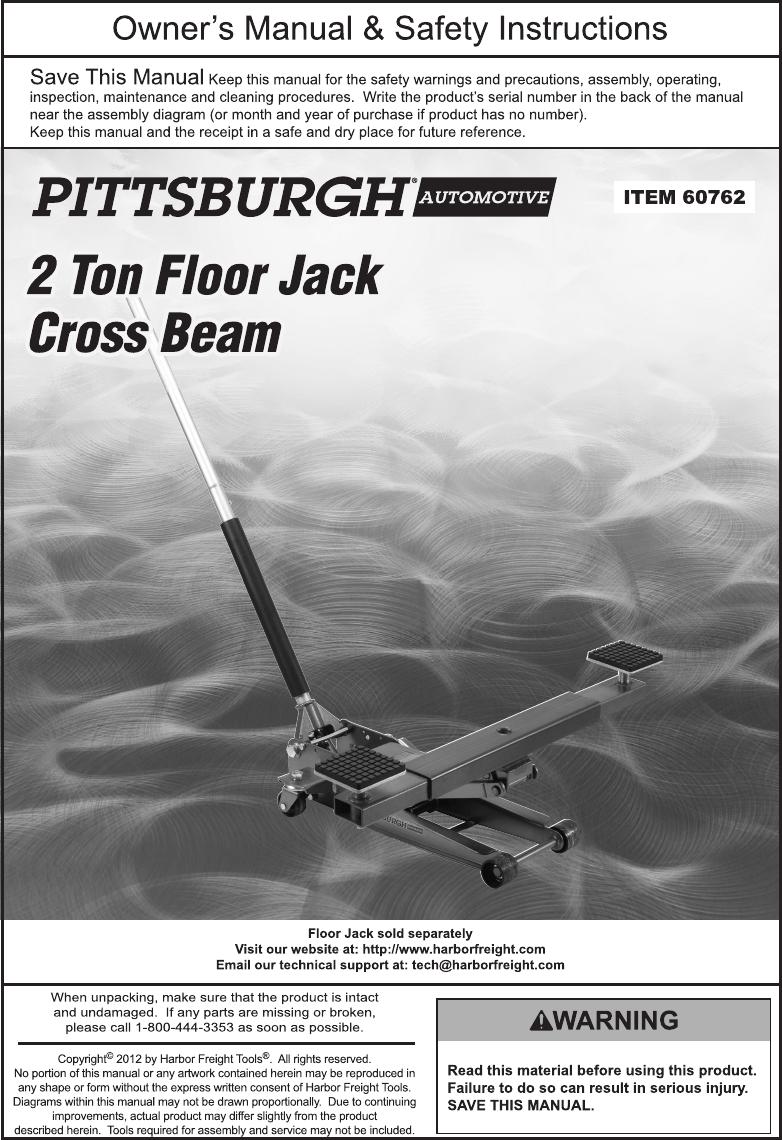 Steel Floor Jack Cross Beam : steel, floor, cross, Harbor, Freight, Steel, Floor, Cross, Product, Manual