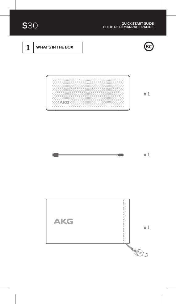 Harman AKGS30 Portable Bluetooth Speaker User Manual