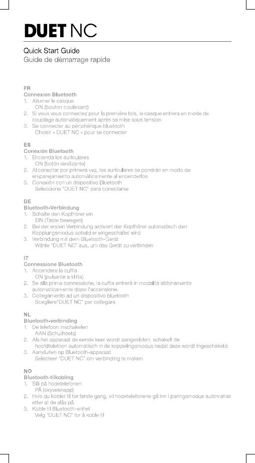 Harman JBLDUETNC Wireless NC Headphones User Manual