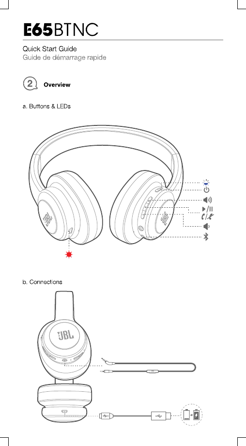 Harman JBLE65BTNC Wireless NC Headphones User Manual