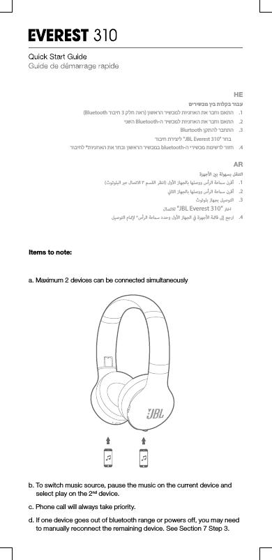 Harman JBLV310BT Bluetooth headset User Manual TR03787 JBL